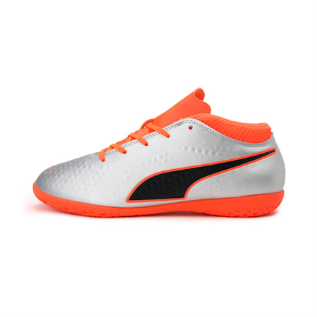 PUMA ONE 4 Synthetic IT Kids' Football Shoes, Silver-Orange-Black, small-IND