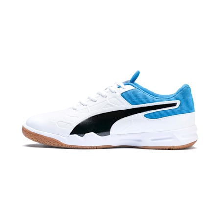 Tenaz Indoor Teamsport Shoes, White-Black-Bleu Azur-Gum, small-IND