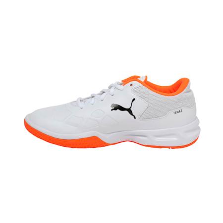 Tenaz Kids' Indoor Teamsport Shoes, White-Black-Orange, small-IND