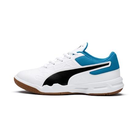 Tenaz Kids' Indoor Teamsport Shoes, White-Black-Bleu Azur-Gum, small-IND