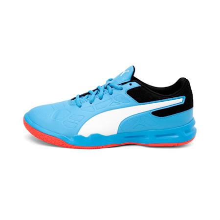 Tenaz Kids' Indoor Teamsport Shoes, Bleu Azur-White-Black-Red, small-IND