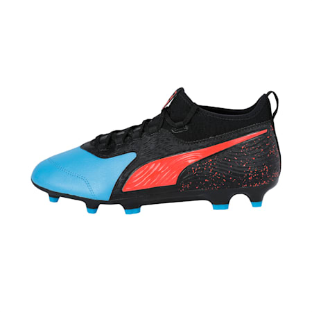 PUMA ONE 19.3 FG/AG Men's Football Boots, Bleu Azur-Red Blast-Black, small-IND