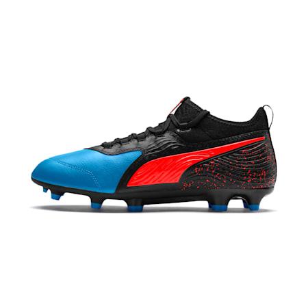 PUMA ONE 19.3 FG/AG Men's Soccer Cleats, Bleu Azur-Red Blast-Black, small