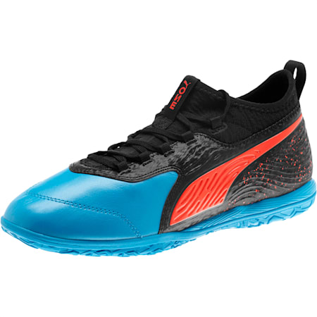 PUMA ONE 19.3 IT Men's Soccer Shoes, Bleu Azur-Red Blast-Black, small