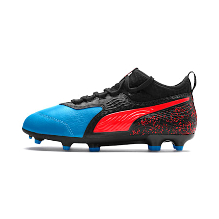 PUMA ONE 19.3 FG/AG Soccer Cleats JR, Bleu Azur-Red Blast-Black, small