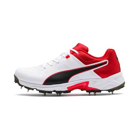PUMA Spike 19.1 Men's Cricket Shoes, Puma White-Puma Black-High Risk Red, small-IND