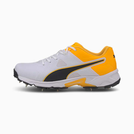 PUMA Spike 19.1 Men's Cricket Shoes, Puma White-Puma Black-Orange, small-IND