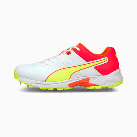 PUMA Spike 19.1 Men's Cricket Shoes, Red Blast-Yellow Alert-Puma White, small-IND