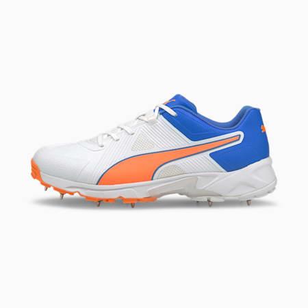 PUMA Spike 19.1 Men's Cricket Shoes, Puma White-Bluemazing-Orange Glow, small-IND