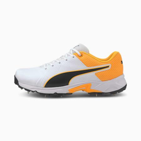 PUMA Spike 19.2 Men's Cricket Boots, Puma White-Puma Black-Orange, small-IND
