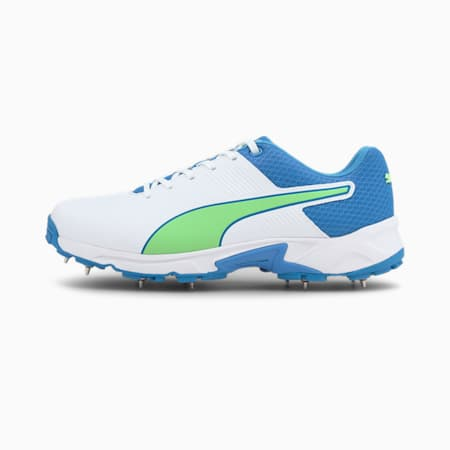 PUMA Spike 19.2 Men's Cricket Boots, Puma White-Nrgy Blue-Green, small