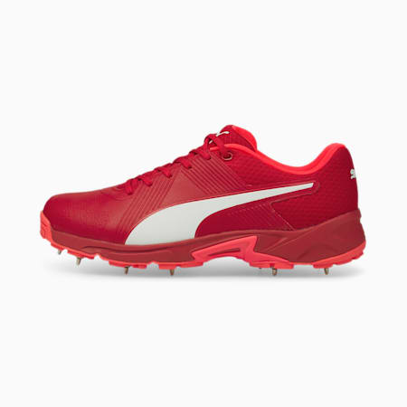 PUMA Spike 19.2 Men's Cricket Boots, Urban Red-Sunblaze-Puma White, small-IND