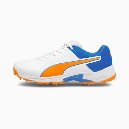 PUMA Spike 19.2 Men's Cricket Boots, Puma White-Bluemazing-Orange Glow, small-IND