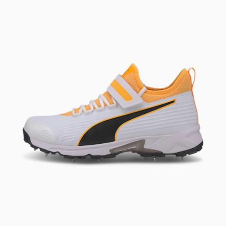 PUMA 19.1 Bowling Men's Cricket Shoes, Puma White-Puma Black-Orange Alert, small-IND