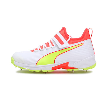 PUMA 19.1 Bowling Men's Cricket Shoes, Red Blast-Yellow Alert-Puma White, small-IND