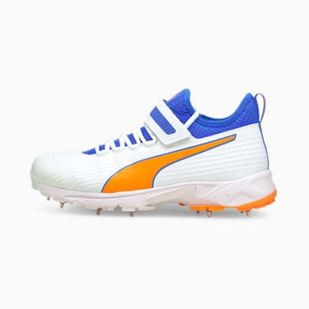PUMA 19.1 Bowling Men's Cricket Shoes, Puma White-Bluemazing-Orange Glow, small-IND