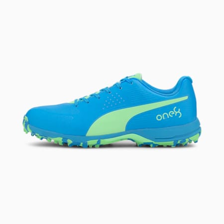 PUMA x one8 Virat Kohli FH Rubber one8 Men's Cricket Shoes, Elektro Green-Nrgy Blue, small-IND