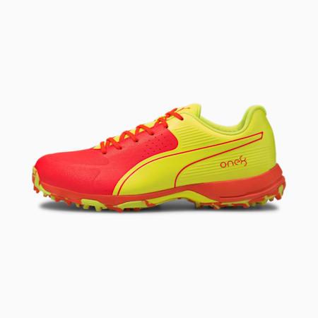 one8 PUMA 19 Virat Kohli Men's Cricket Shoes, Red Blast-Yellow Alert, small-IND
