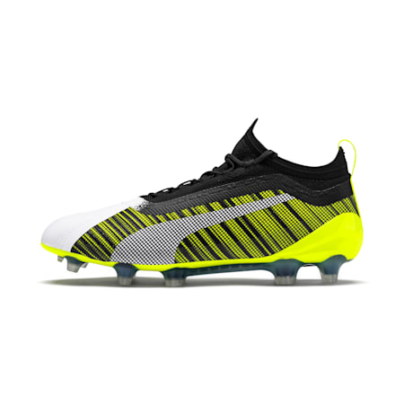 PUMA ONE 5.1 FG/AG Men's Soccer Cleats, White-Black-Yellow Alert, small