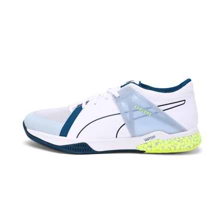 Explode XT Hybrid 2 Handball Shoes, Puma White-Grey Dawn-Safety Yellow-Gibraltar Sea, small-IND