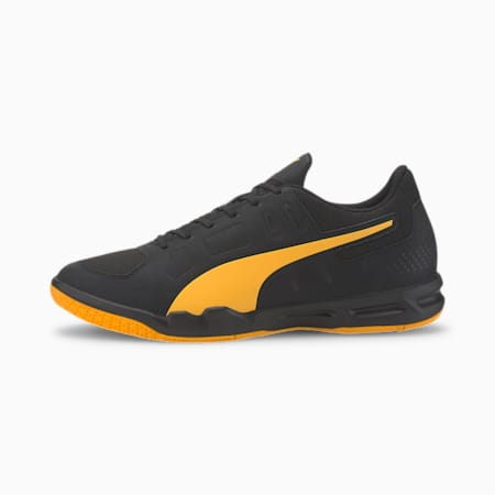Auriz Indoor Sport Men's Football Boots, Puma Black-Orange Alert, small