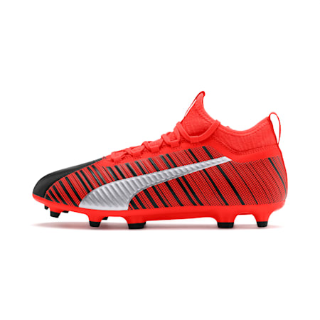 PUMA ONE 5.3 FG/AG Men's Soccer Cleats, Black-Nrgy Red-Aged Silver, small