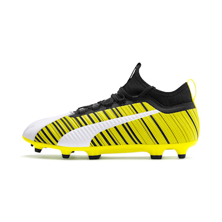 PUMA ONE 5.3 FG/AG Men's Football Boots, White-Black-Yellow Alert, small-IND