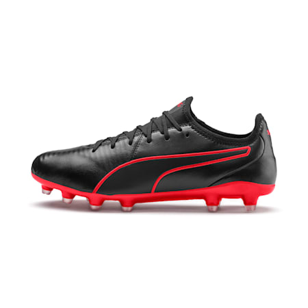 King Pro FG Soccer Cleats, Puma Black-High Risk Red, small