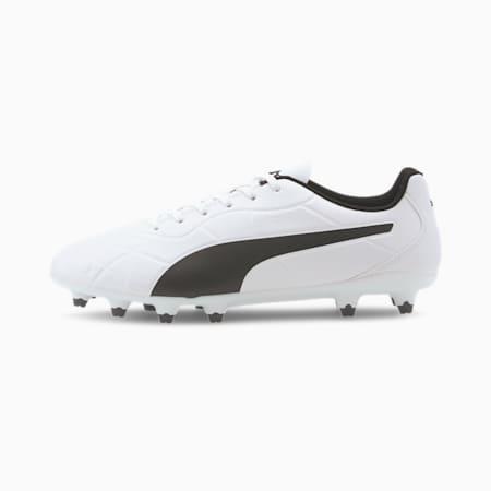 Monarch FG Men's Football Boots, Puma White-Puma Black, small-IND