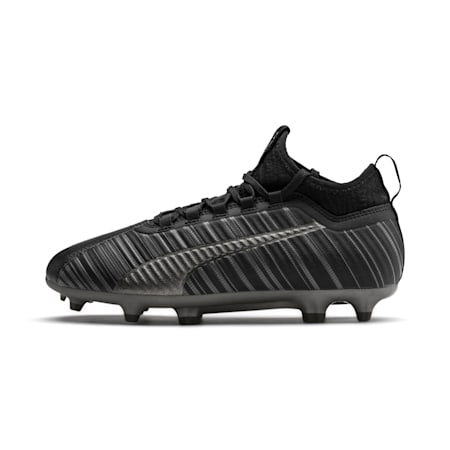 PUMA ONE 5.3 FG/AG Soccer Cleats JR, Black-Black-Puma Aged Silver, small