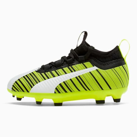PUMA ONE 5.3 FG/AG Soccer Cleats JR, White-Black-Yellow Alert, small