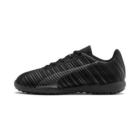 Zapatos de fútbol PUMA ONE 5.4 TT para JR, Black-Black-Puma Aged Silver, pequeño