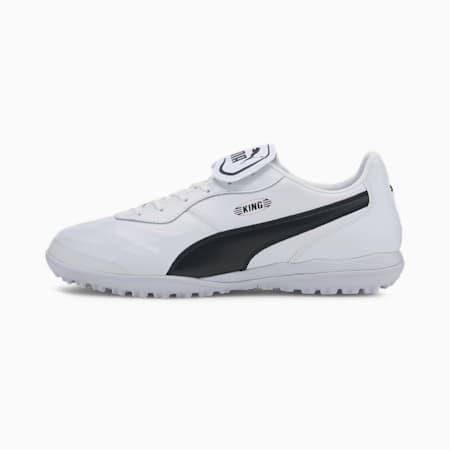 King Top TT Men's Soccer Shoes, White-Black-White, small