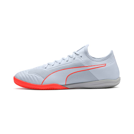 365 Sala 1 Men's Soccer Shoes, Grey Dawn-Nrgy Red, small