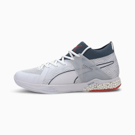 Explode EH 1 Football Boots, White-Denim-Risk Red-Gray, small