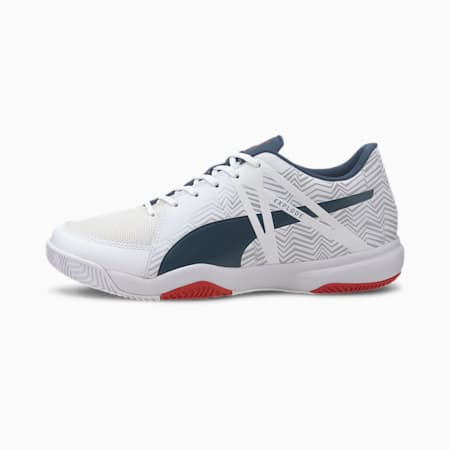 Explode EH 3 Men's Football Boots, White-Denim-Risk Red-Gray, small-IND