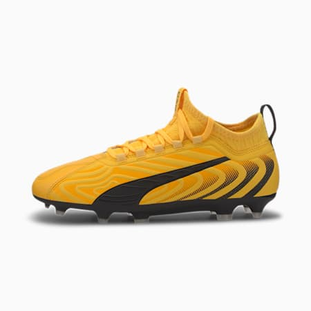 PUMA ONE 20.3 FG/AG Soccer Cleats JR, YELLOW-Puma Black-Orange, small