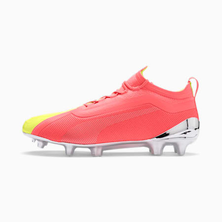 Chaussure de foot PUMA ONE 20.1 OSG FG/AG pour homme, Peach-Fizzy Yellow-Silver, small