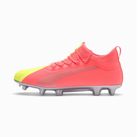 Botas de fútbol PUMA ONE 20.2 FG/AG para hombre, Peach-Fizzy Yellow-Silver, small
