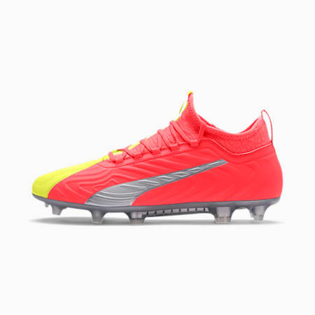 Botas de fútbol PUMA ONE 20.3 FG/AG para hombre, Peach-Fizzy Yellow-Silver, small