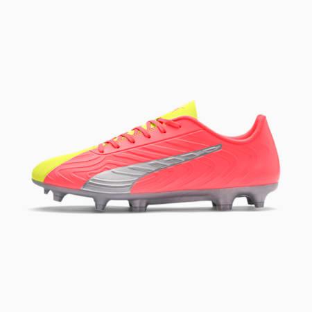 Botas de fútbol PUMA ONE 20.4 FG/AG para hombre, Peach-Fizzy Yellow-Silver, small
