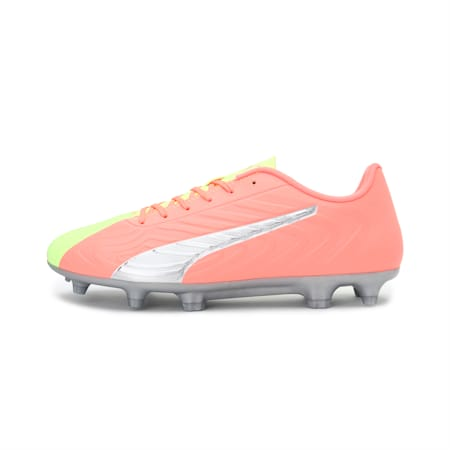 PUMA ONE 20.4 OSG FG/AG Men's Football Boots, Peach-Fizzy Yellow-Silver, small-IND