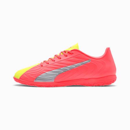Zapatos de fútbol PUMA ONE 20.4 IT para hombre, Peach-Fizzy Yellow-Plateado, pequeño