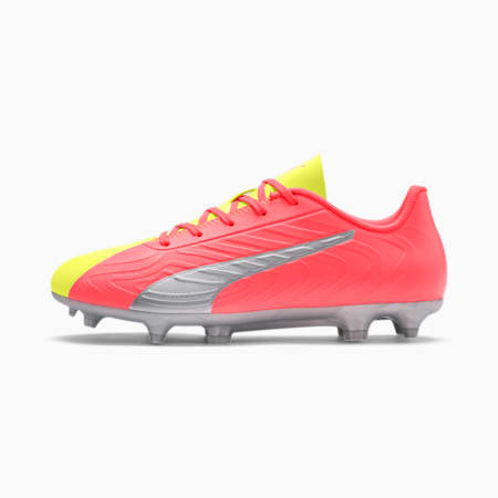 PUMA ONE 20.4 FG/AG Soccer Cleats JR, Peach-Fizzy Yellow-Silver, small