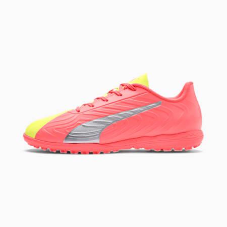 Botas de fútbol PUMA ONE 20.4 TT para jóvenes, Peach-Fizzy Yellow-Silver, small