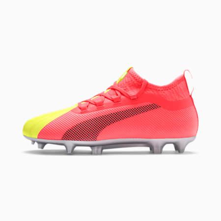 Młodzieżowe buty piłkarskie PUMA ONE 20.2 FG/AG, Peach-Fizzy Yellow-Silver, small