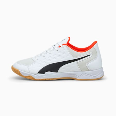 Auriz Youth Indoor Sports Shoes, Puma White-Red Blast-Gum, small-IND