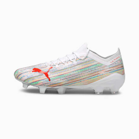 ULTRA 1.2 FG/AG Soccer Cleats, White-Red Blast-Puma Silver, small