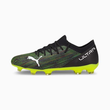 ULTRA 3.2 FG/AG Men's Football Boots, Black-White-Yellow Alert, small-IND