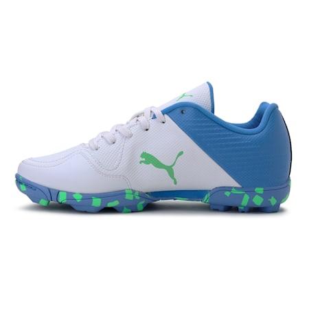 evoSpeed one8 JR Shoes, Puma White-Blue Glimmer-Elektro Green, small-IND